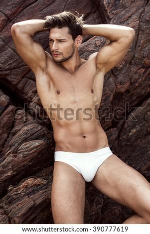 Sexy Male Model In Underwear  - stock photo