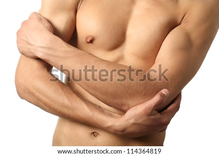 Sexy male torso isolated on white - stock photo