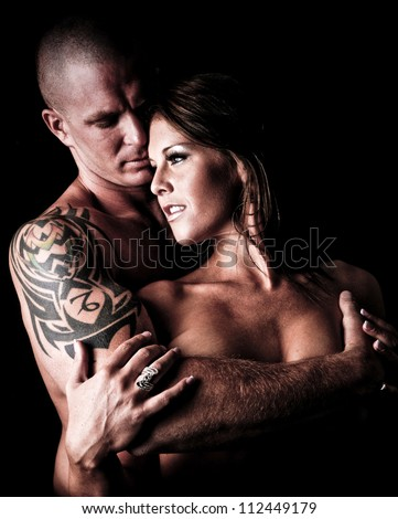 Sexy Man and Woman holding and embracing each other - stock photo