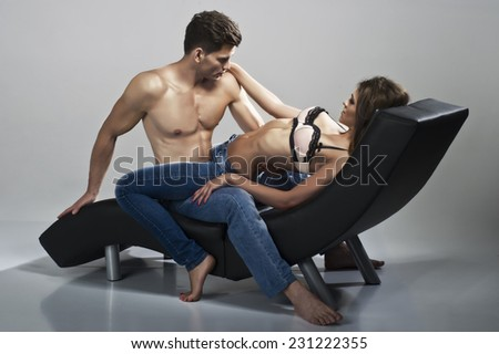 Sexy Man And Woman posing together  - stock photo