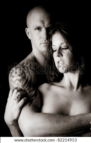 Sexy Man and Woman touching and embracing each other - stock photo