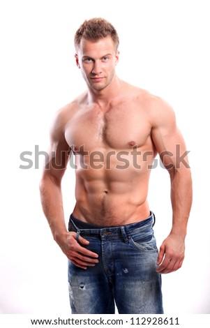 sexy man isolated on white - stock photo