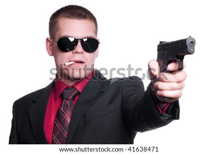 Sexy man with gun