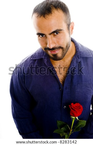 Sexy Man with Single Red Rose - stock photo