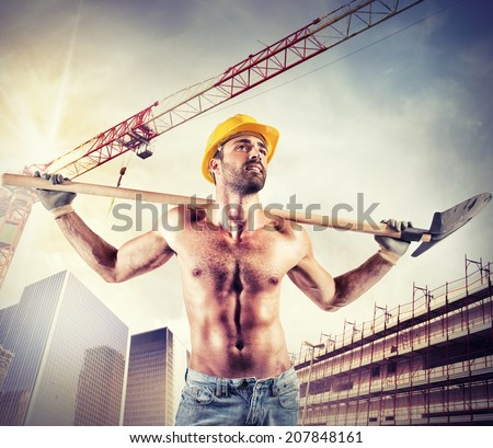 Sexy mason working on a new building