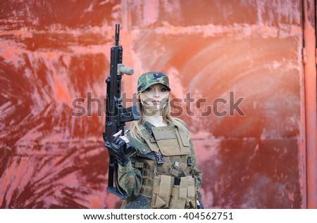 Sexy Military Girl - stock photo