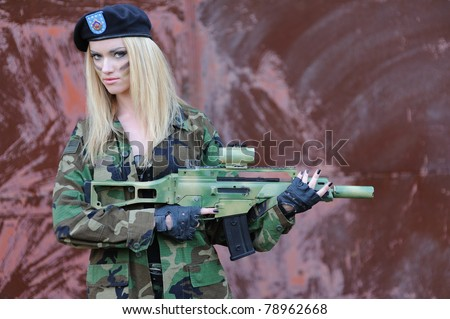 Sexy Military Girl - stock photo