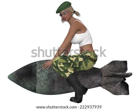 Sexy military girl posing with a bomb - stock photo