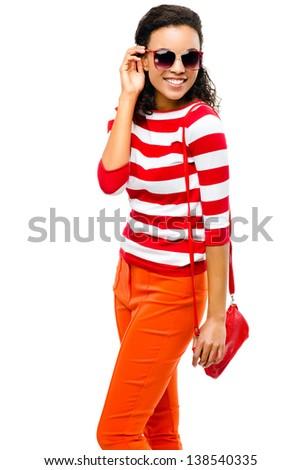 Sexy mixed race fashion model posing isolated on white background - stock photo