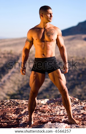 Sexy muscular man. - stock photo