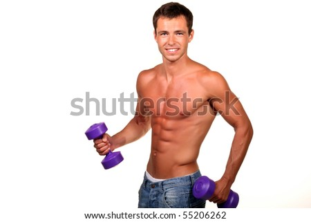 Sexy muscular man doing lifting - stock photo