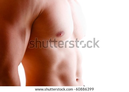 Sexy muscular man high key - stock photo