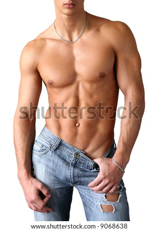 Sexy muscular man isolated on white - stock photo