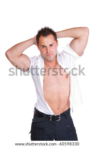 Sexy muscular man over white background