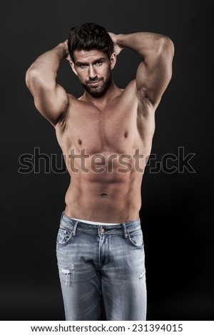 Sexy muscular man wearing jeans  - stock photo
