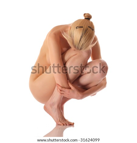 Sexy naked blonde girl with a lowered head, isolated on a white background, please see some of my other parts of a body images - stock photo