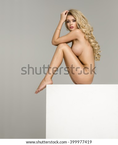 Sexy naked blonde woman  - stock photo