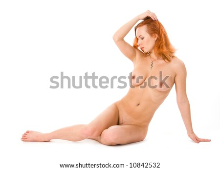 Sexy naked redhead woman in studio on white - stock photo