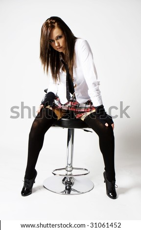 Sexy Naughty Brunette School Girl Plaid Stock Photo