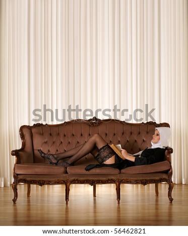 Sexy nun - stock photo