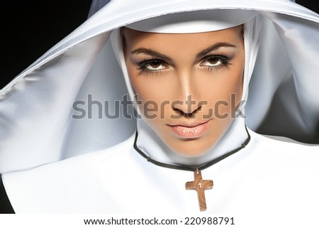 Sexy nun. Halloween - stock photo