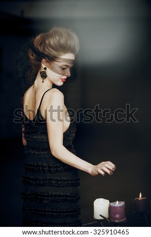sexy pale vampire with red lips - stock photo