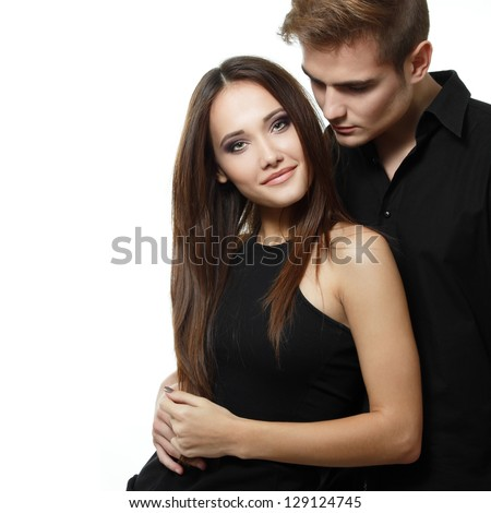 Sexy passion couple, beautiful young man and woman closeup, studio shot over white - stock photo