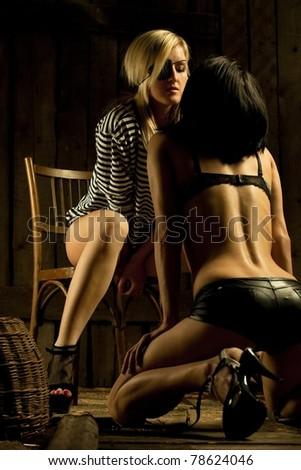 Sexy passion of pair pirate girls - stock photo