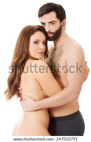 Sexy passionate heterosexual couple embracing. - stock photo