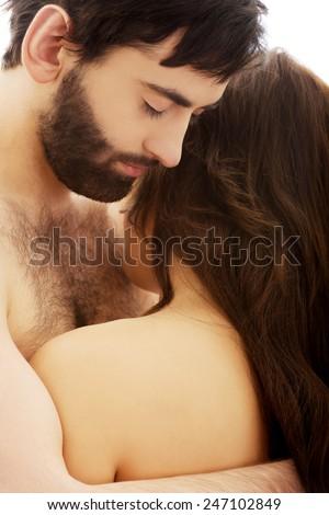 Sexy passionate heterosexual couple embracing. - stock photo