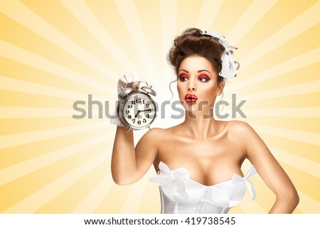 Sexy pinup bride in a vintage wedding corset holding a retro alarm clock and grimacing on colorful abstract cartoon style background.