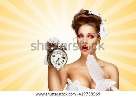 Sexy pinup bride in a vintage wedding corset holding a retro alarm clock and showing surprise on colorful abstract cartoon style background.