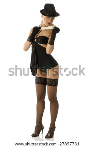 sexy pinup girl in black with hat stocking and shoes with heel