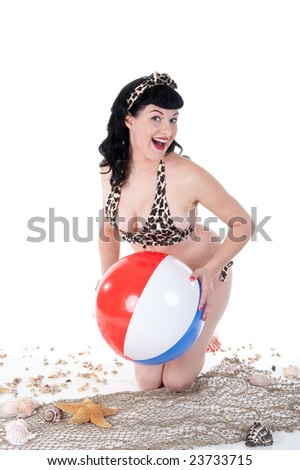 Sexy Pinup Model at the Beach - stock photo