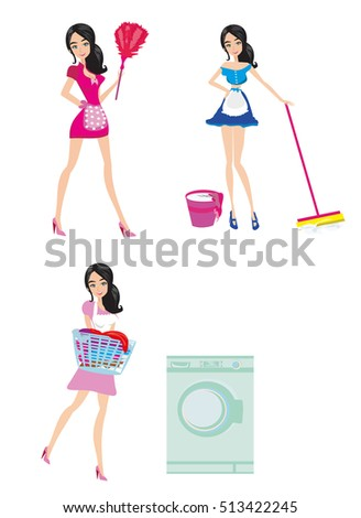 Sexy Pinup Style French Maid Stock Vector 116564221 - Shutterstock