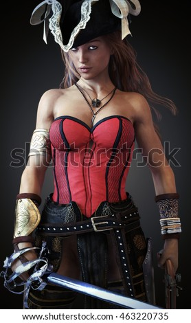 Sexy Pirate female posing with a cutlass sword and pistol on a gradient background. 3d rendering