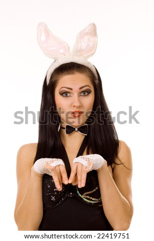 Sexy playgirl with bunny ears isolated on white - stock photo