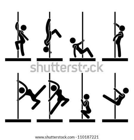 Sexy Pole Dance Icon Symbol Sign Pictogram - stock photo