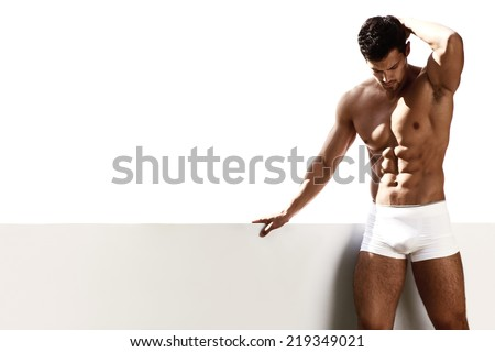 Sexy portrait male model in underwear - stock photo