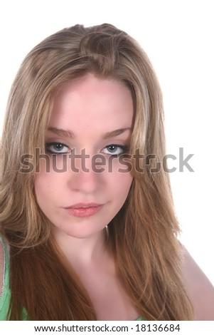 sexy, pouting woman's head shot over white - stock photo