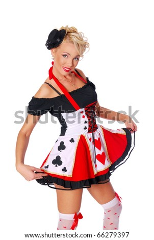 Sexy queen of hearts from Alice in Wonderland - stock photo