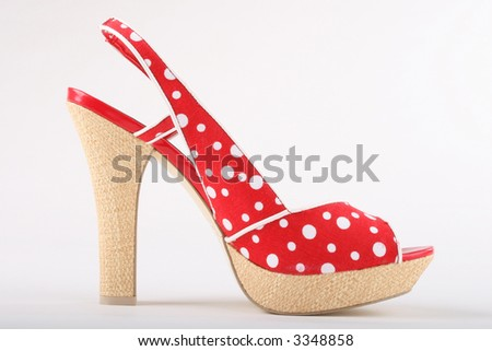 sexy red polka dot heels for summer - stock photo