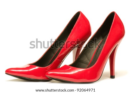 Sexy red shoes isolated on white background. - stock photo