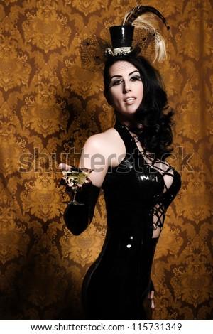Sexy Retro Cabaret - Glamorous Vixen with Vintage Glass - stock photo