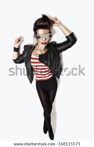 sexy rock n roll woman - stock photo