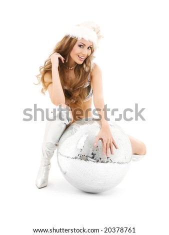 sexy santa helper with big disco ball over white - stock photo