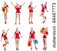 Sexy santa helper woman. Christmas party. Isolated over white background. - stock photo