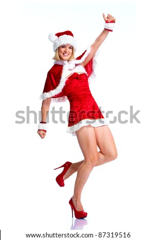Sexy santa helper woman dancing. Christmas party. Isolated over white background. - stock photo