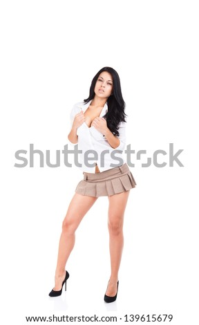 sexy school student girl in short skirt, hot brunette curly hair woman long legs high heel, full length portrait isolated over white background