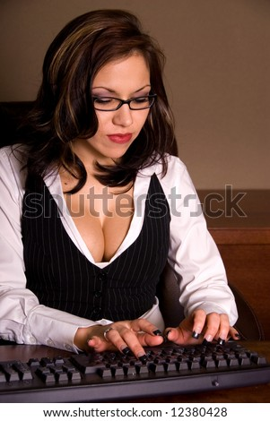 Sexy secretary. - stock photo